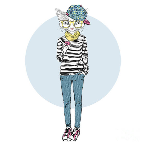 Wall Art - Digital Art - Cat Teen Girl In Stripy Top With by Olga angelloz