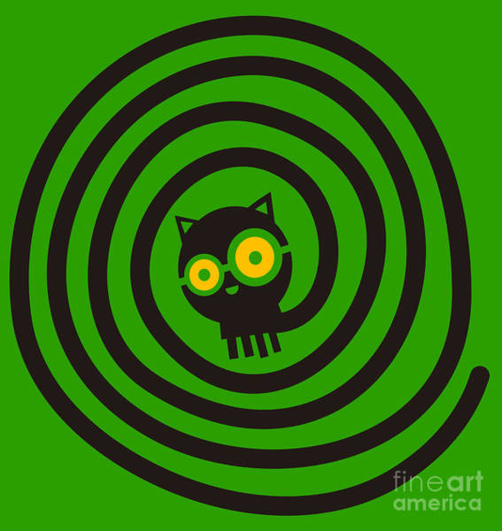 Wall Art - Digital Art - Cat With Glasses And Spiral Tail by Complot