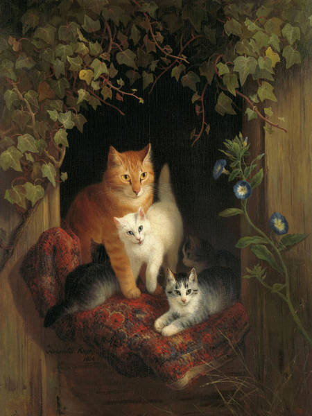 Wall Art - Painting - Cat With Kittens, 1844 by Henriette Ronner-Knip