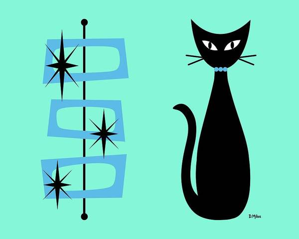 Digital Art - Cat With Mid Century Modern Rectangles On Aqua by Donna Mibus