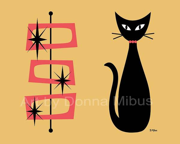 Digital Art - Cat With Mid Century Rectangles On Yellow by Donna Mibus