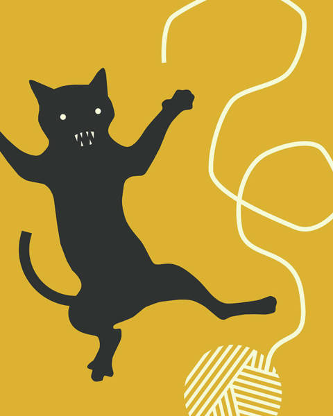 Wall Art - Digital Art - Cat With String by Jazzberry Blue