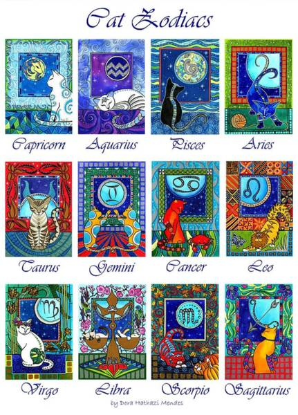 Painting - Cat Zodiac Astrological Signs by Dora Hathazi Mendes