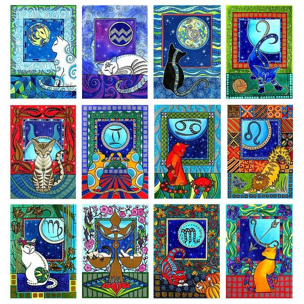 Painting - Cat Zodiac Paintings  by Dora Hathazi Mendes