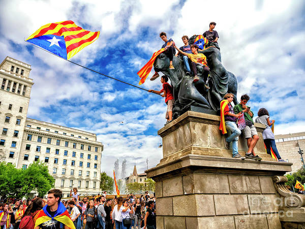 Photograph - Catalan Independence Rally In Barcelona by John Rizzuto
