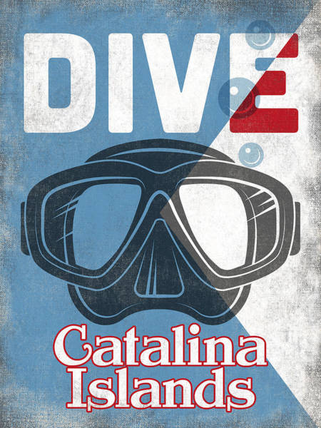 Dive Digital Art - Catalina Islands Vintage Scuba Diving Mask by Flo Karp