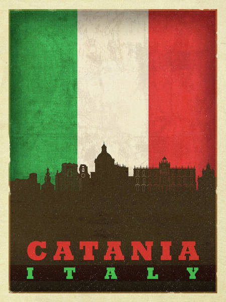 Wall Art - Mixed Media - Catania Italy World City Flag Skyline by Design Turnpike