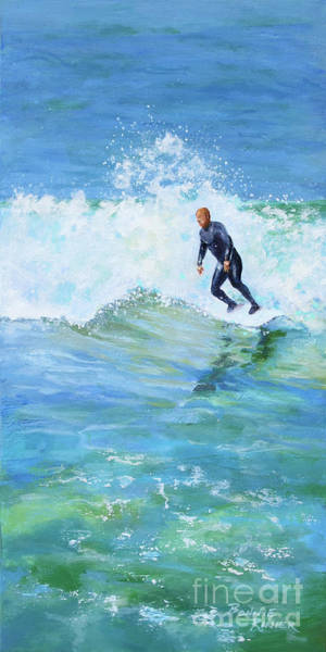 Surfer Painting - Catch Another Wave by Bonnie Rinier