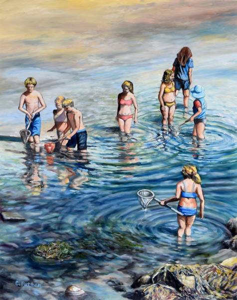 Wall Art - Painting - Catching Minnows By The Shore by Eileen Patten Oliver