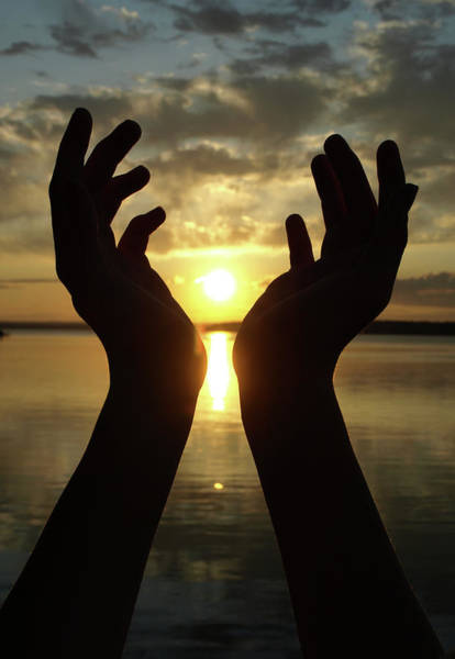 Human Hand Photograph - Catching The Sunset by Mollyanne