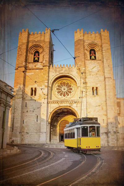 Wall Art - Photograph - Cathedral And Yellow Tram Lisbon Portugal  by Carol Japp