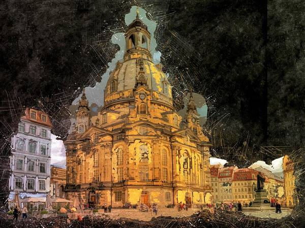 Church Spire Wall Art - Painting - Cathedral, Dresden by ArtMarketJapan