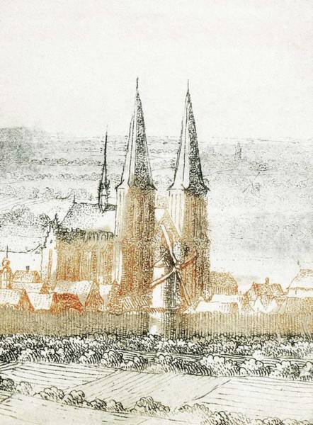 Wall Art - Painting - Cathedral From Book With Prints In Color 1690-1710 By Johan Teyler 1648 -1709 by Johan Teyler