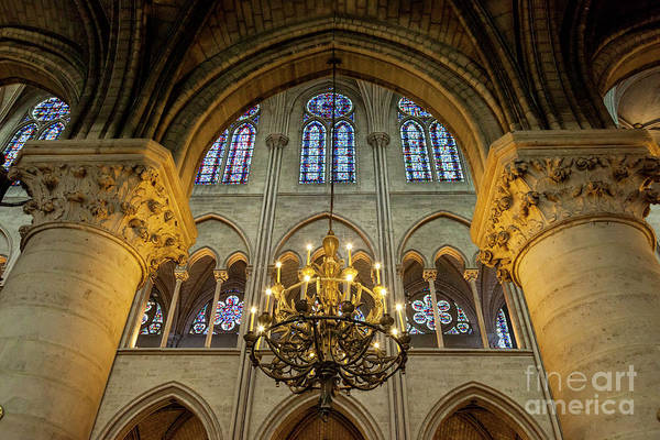 Photograph - Cathedral Notre Dame Chandelier by Brian Jannsen