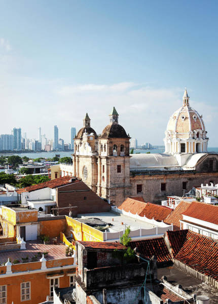 Cartagena Photograph - Cathedral Overlooking Cartagena Rooftops by Cultura Rm Exclusive/laurie Castelli