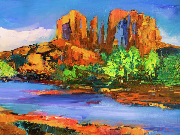 Sedona Painting - Cathedral Rock Afternoon - Sedona by Elise Palmigiani