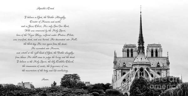 Photograph - Catholic Apostles Creed And Notre Dame Cathedral In Black And White by Rose Santuci-Sofranko