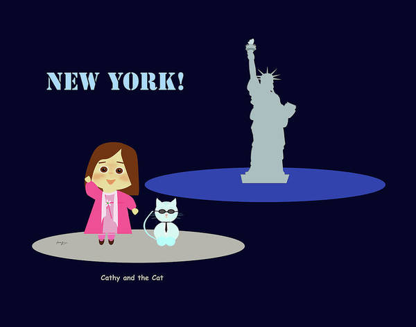 Drawing - Cathy And The Cat In New York by Laura Greco