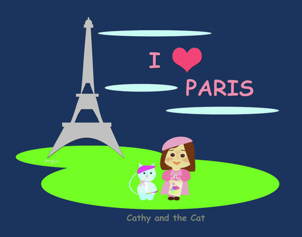 Drawing - Cathy And The Cat In Paris by Laura Greco