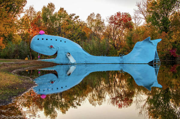Photograph - Catoosa Oklahoma Blue Whale Autumn Reflections - Route 66 by Gregory Ballos
