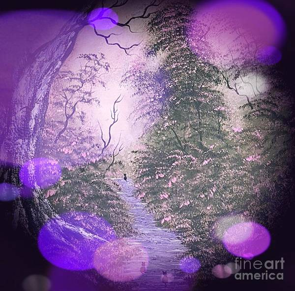 Wall Art - Painting - Cats Adventure Purple Stardust  by Angela Whitehouse