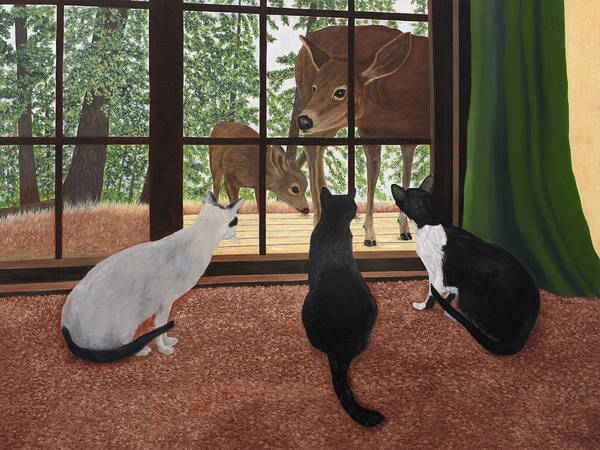 Painting - Cats And Deer by Karen Zuk Rosenblatt