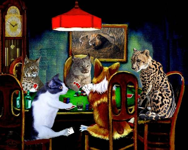 Were Wolf Wall Art - Painting - Cats Are Wild Poker by Ron Chambers