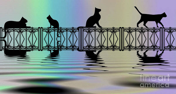 Wall Art - Digital Art - Cats On A Fence by Elaine Manley