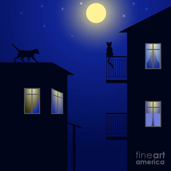 Sweetheart Digital Art - Cats On Roof by Minaieva Antonina