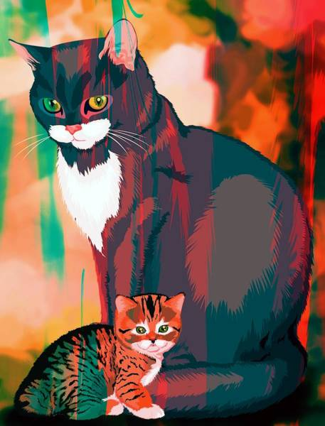 Wall Art - Painting - Cats Parent And Child by ArtMarketJapan