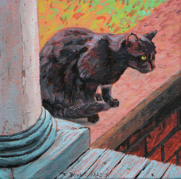 Wall Art - Painting - Cat's Pause 2 - Black Cat On The Front Porch by Bonnie Mason
