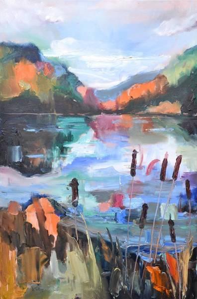 Painting - Cattails     Mountain Landscape by Donna Tuten