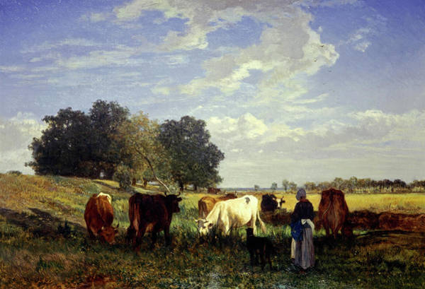 Wall Art - Painting - Cattle Grazing In Touraine, 1857 by Constant Troyon