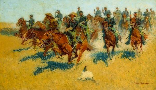 Wall Art - Painting - Cavalry Charge On The Southern Plains by Frederic Remington