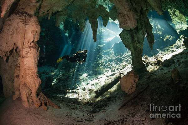 Scuba Diving Wall Art - Photograph - Cave Diving In Cenote by Marcus Bay