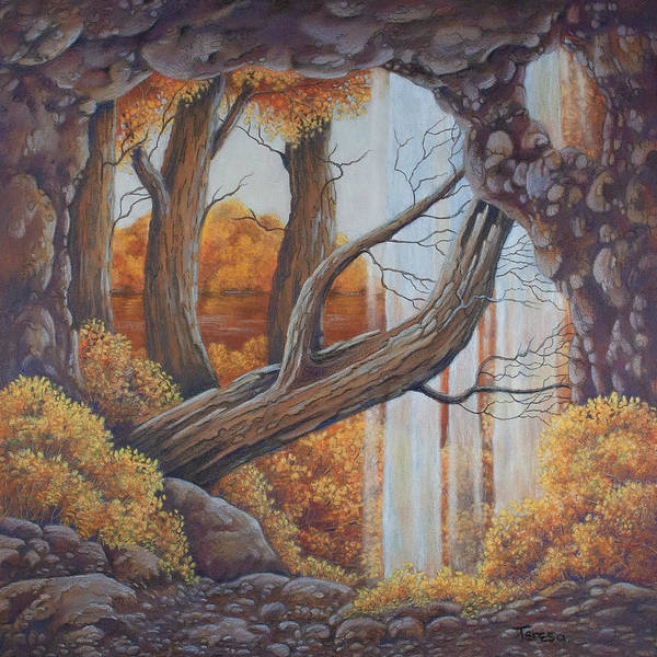 Rust Drawing - Cave With A View by Teresa Frazier