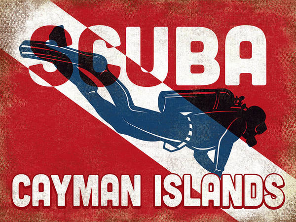 Dive Digital Art - Cayman Islands Scuba Diver - Blue Retro by Flo Karp