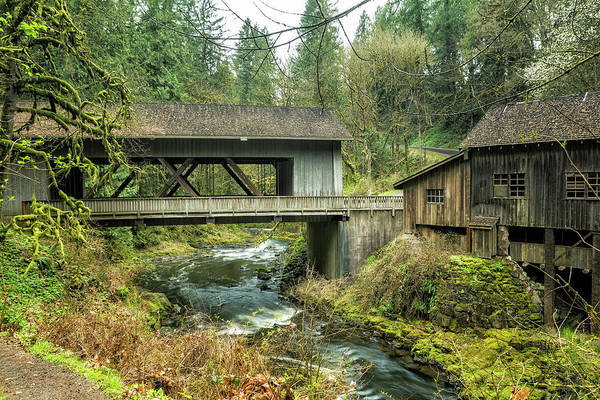 Photograph - Cedar Creek Covered Bridge And Grist Mill by Belinda Greb