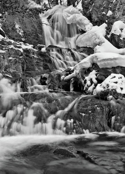 Photograph - Cedar Creek Falls Black And White by Leland D Howard