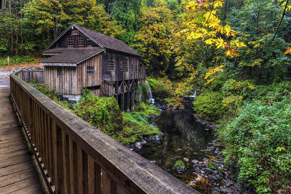 Photograph - Cedar Creek Grist Mill Bridge View by Mark Kiver