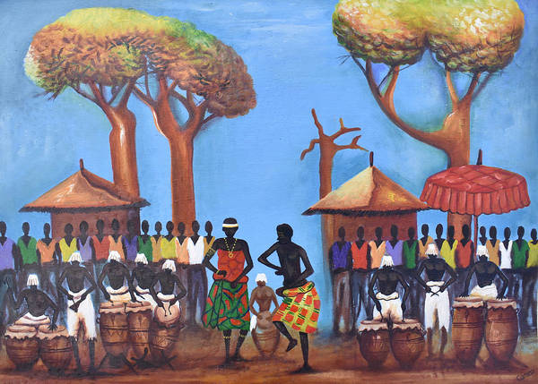 Painting - Celebration Drumming - Blue by Francis Sampson