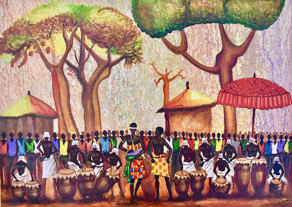 Painting - Celebration Drumming - Red by Francis Sampson
