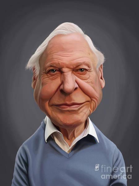 Digital Art - Celebrity Sunday - David Attenborough by Rob Snow