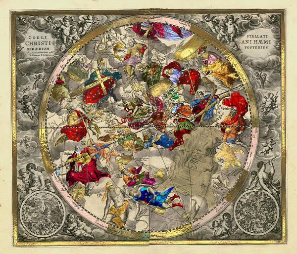 Digital Art - Celestial Luxury Gold Edition - Andreas Cellarius Chart Haemisphaerium Posterius by Serge Averbukh