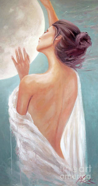 Painting - Celestial Moon Goddess by Michael Rock
