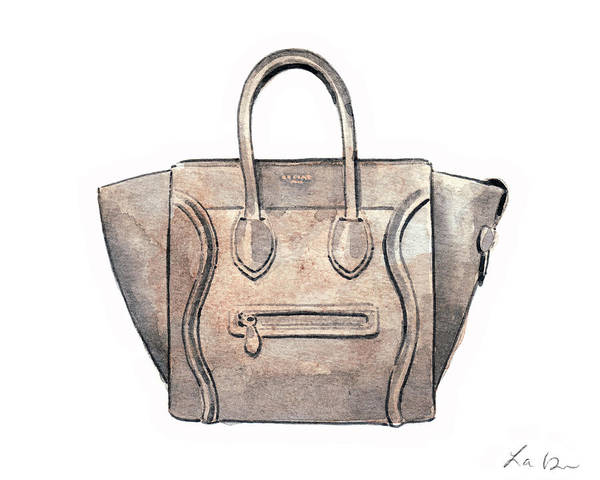 Wall Art - Painting - Celine Luggage Handbag In Tan Leather by Laura Row