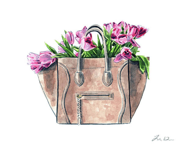 Wall Art - Painting - Celine Luggage Handbag With Pink Tulips by Laura Row