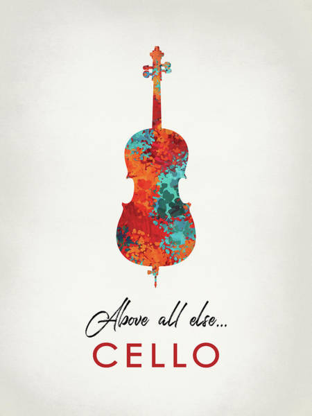 Wall Art - Digital Art - Cello - Bright Hot Colors by Flo Karp
