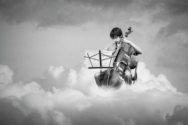 Photograph - Cello Player Playing On Cloud Nine In Black And White by Randall Nyhof