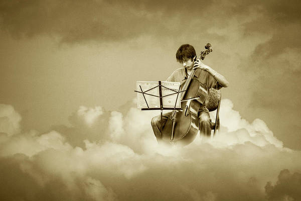 Photograph - Cello Player Playing On Cloud Nine In Sepia Tone by Randall Nyhof